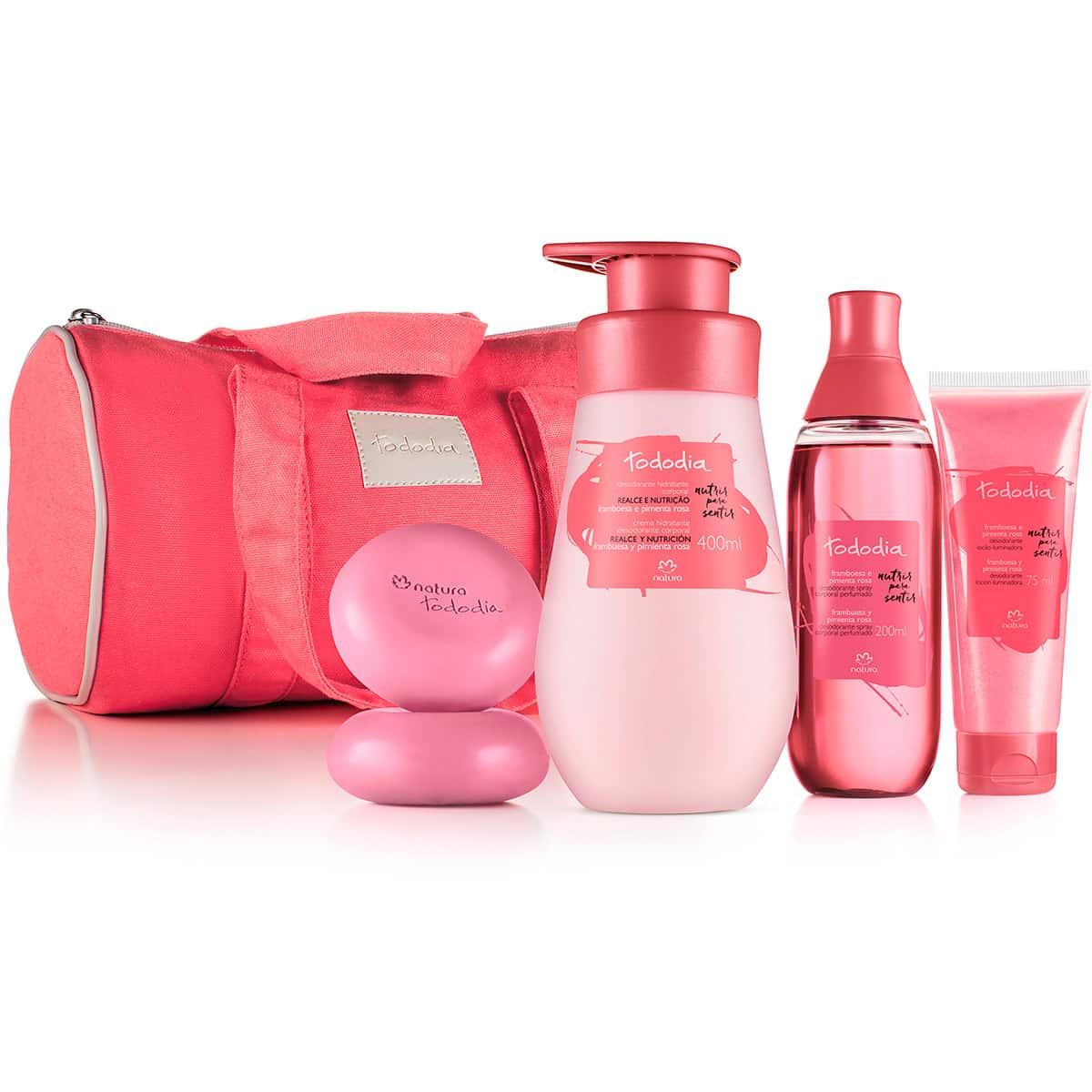 Bolsa De Mão Essencial Natura : Presente natura tododia framboesa e pimenta rosa com bolsa