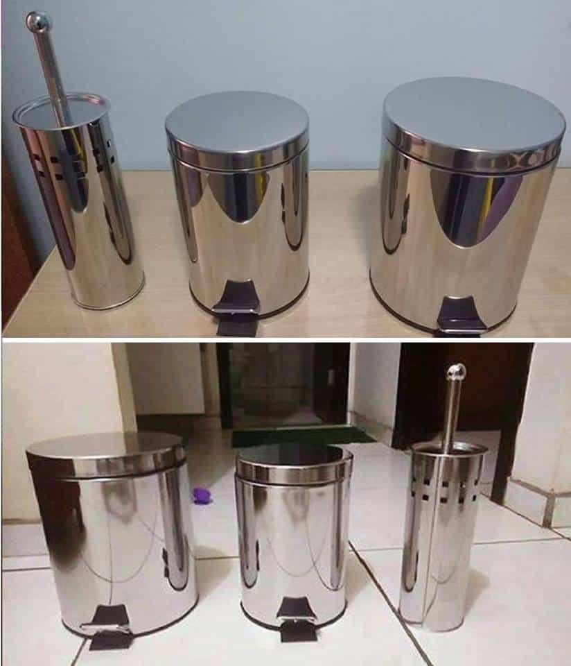 Kit Banheiro Inox Meber : Kit banheiro pe?as lixeiras em a?o inox com capacidade