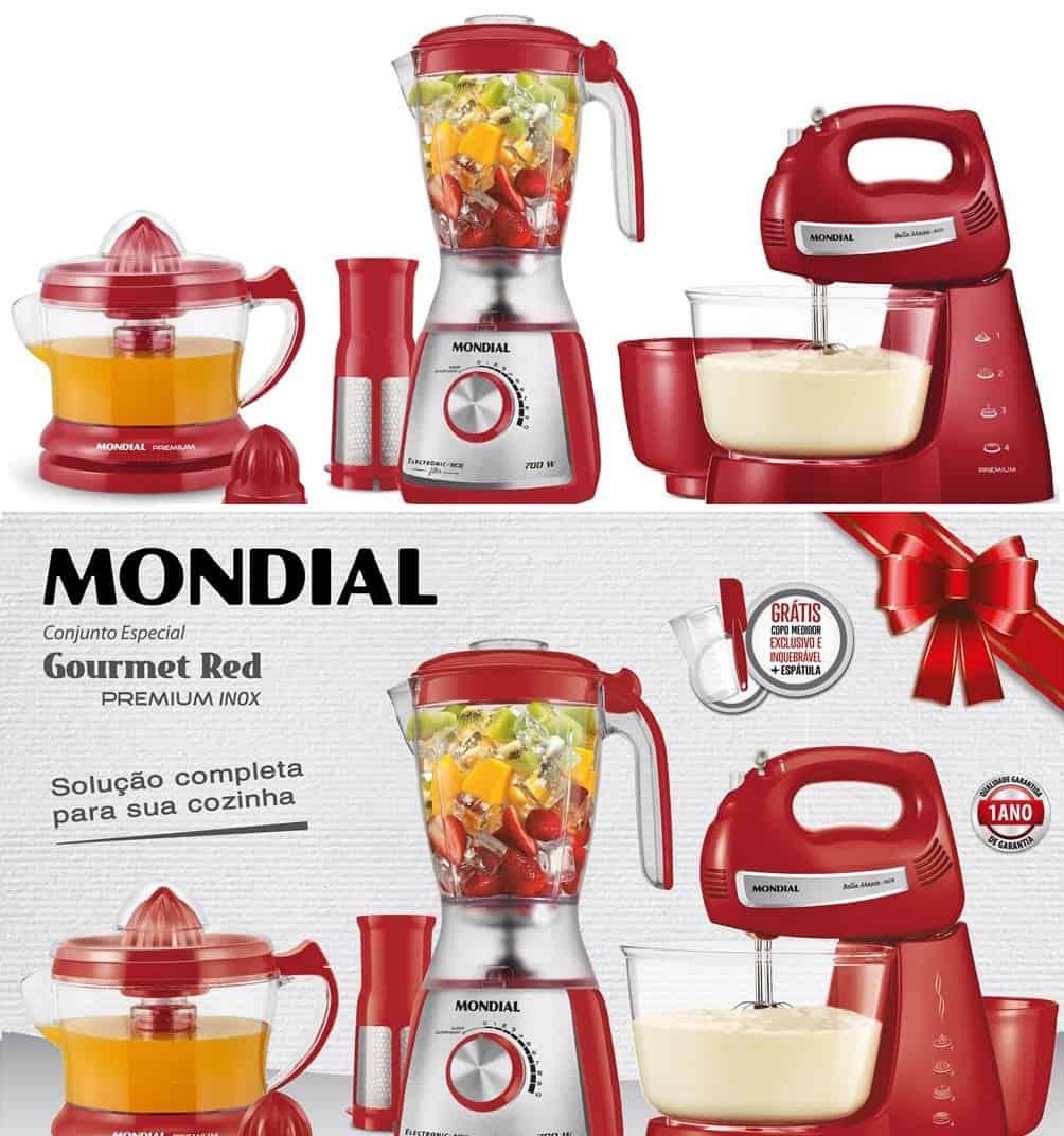 Kit Gourmet Mondial Com Liquidificador Batedeira Espremedor