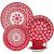 Aparelho de Jantar e Chá 20 Peças Oxford Daily Floreal Renda Branco/Vermelho