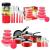 Jogo de Panelas 5 peças Antiaderente Vermelha + Potes de Vidro com Tampa Vermelha 5 Peças + Faqueiro Tramontina 20 peças