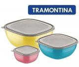 Jogo de Potes 3 Peças Tramontina Mixcolor Colorido Polipropileno