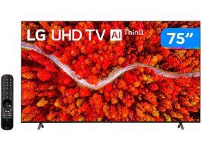 "Smart TV 75"" Ultra HD 4K LED LG 75UP8050 – 60Hz Wi-Fi e Bluetooth Alexa 4 HDMI 2 USB"