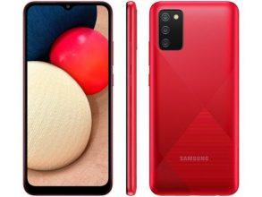 "Smartphone Samsung Galaxy A02s 32GB Vermelho 4G – Octa-Core 3GB RAM 6,5"" Câm. Tripla + Selfie 5MP"