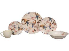 Aparelho de Jantar Chá 20 Peças Haus Cerâmica – Redondo Soho Pássaros