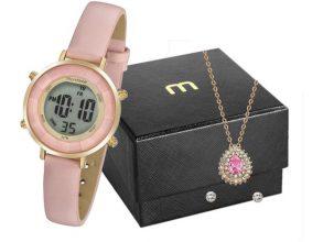 Relógio Feminino Mondaine Digital – 53876LPMVDHFK2 Rosa com Acessórios
